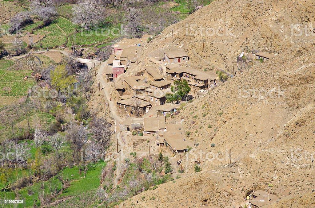 Village in Atlas mountains, Morocco stock photo