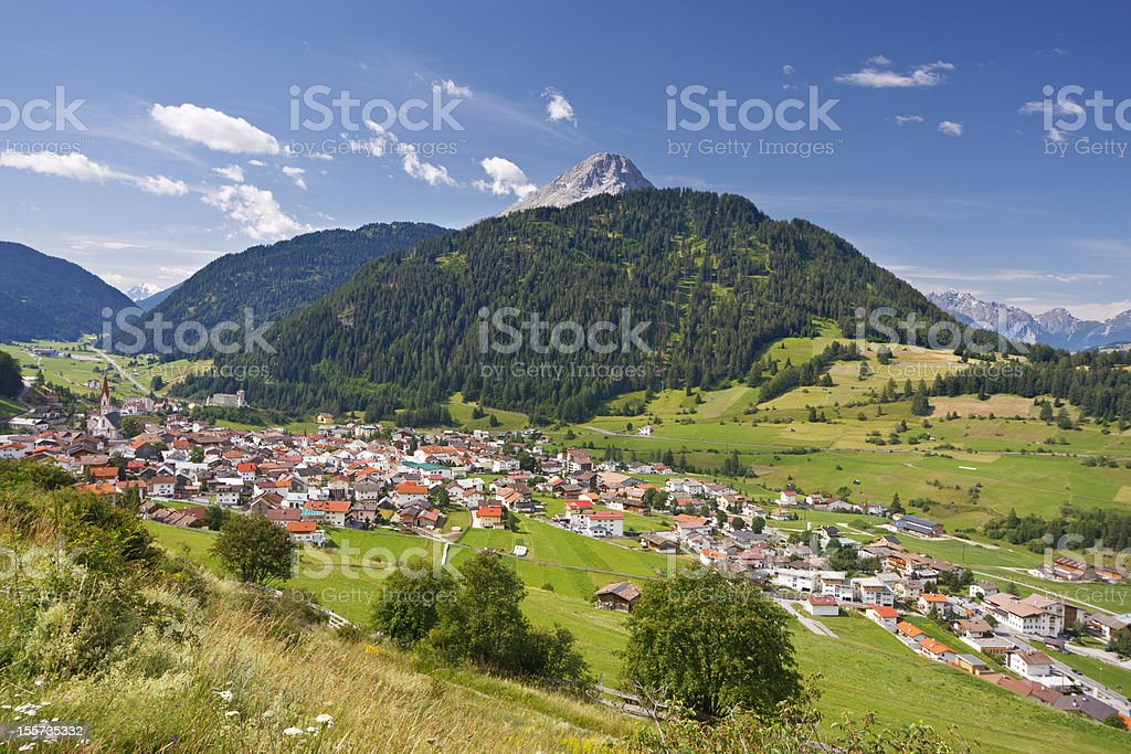 Village In Austrian Mountain Landscape royalty-free stock photo