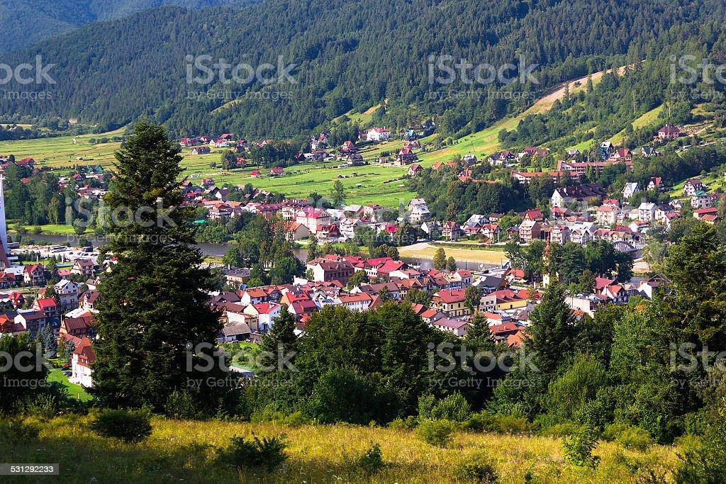 Village in Beskid Mountains. Kroscienko nad Dunajcem, Poland. stock photo