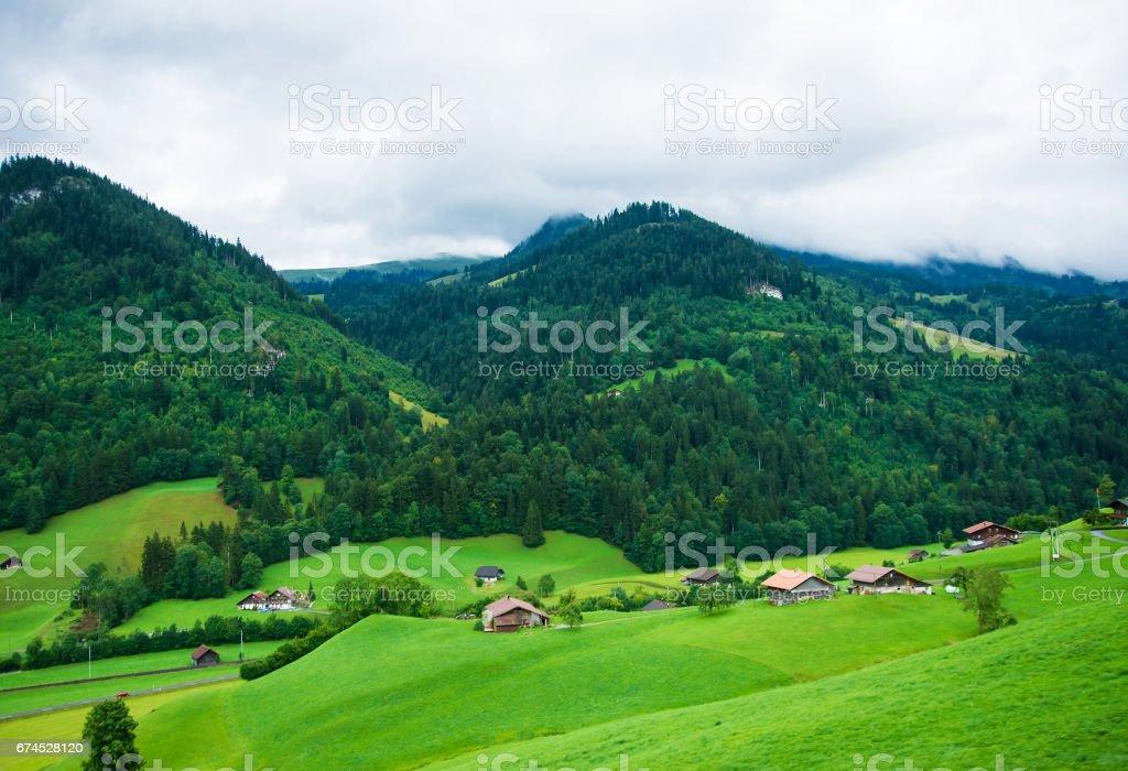 Village in Boltigen at Jaun Pass in Fribourg in Switzerland stock photo
