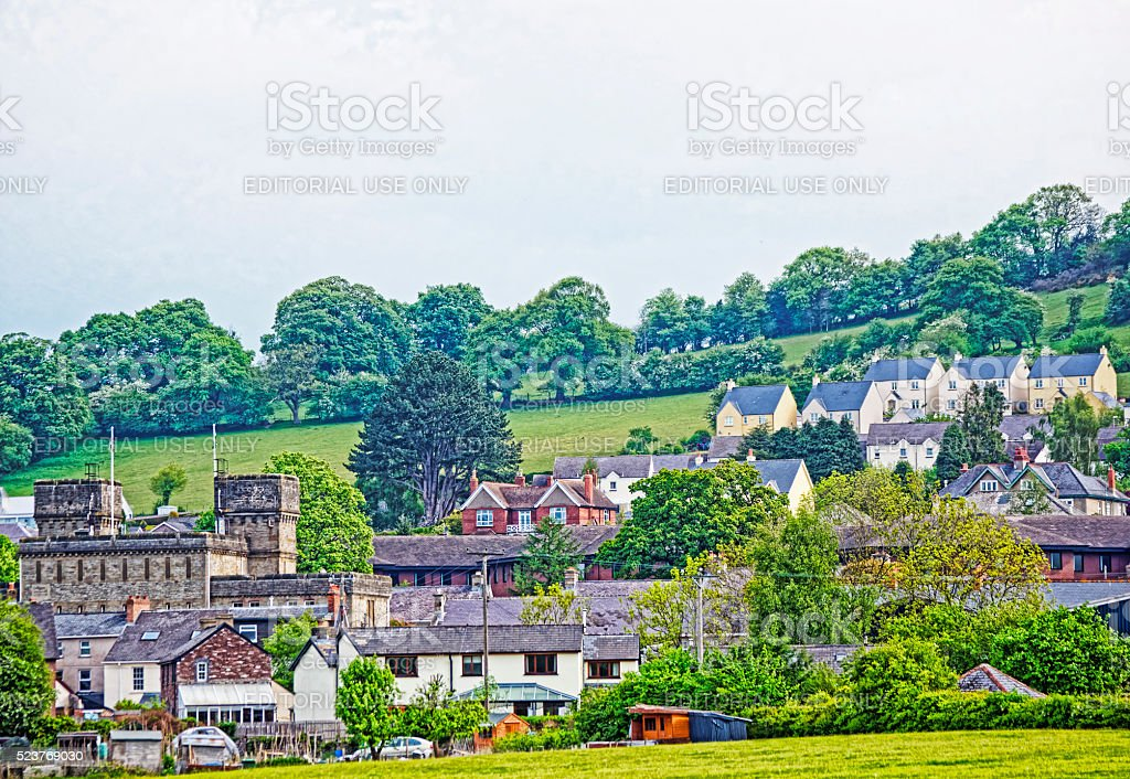 Village in Brecon Beacons in South Wales stock photo