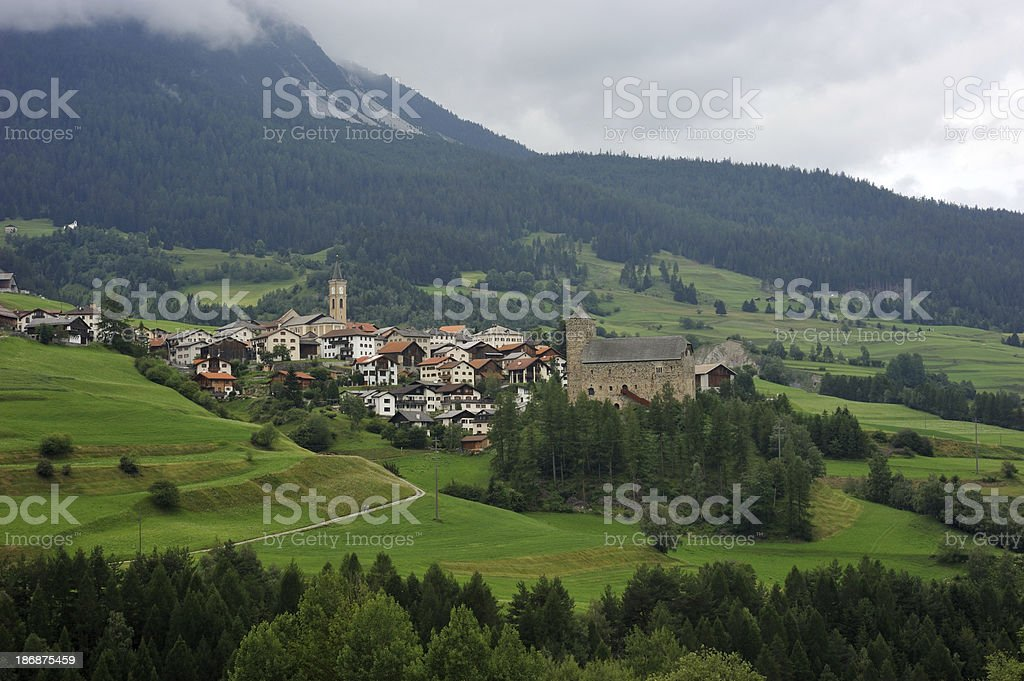 Village in Engadine Valley royalty-free stock photo