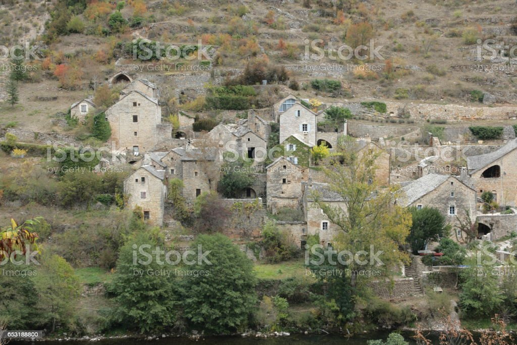 Village in gorges du Tarn or Tarn canyon, France stock photo
