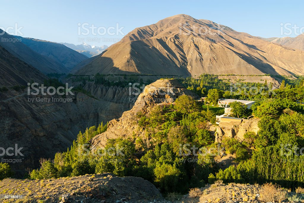 Village in high mountains stock photo