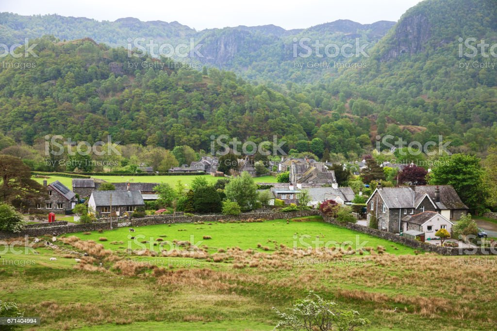Village in Lake District, Cumbria,  England , UK. stock photo