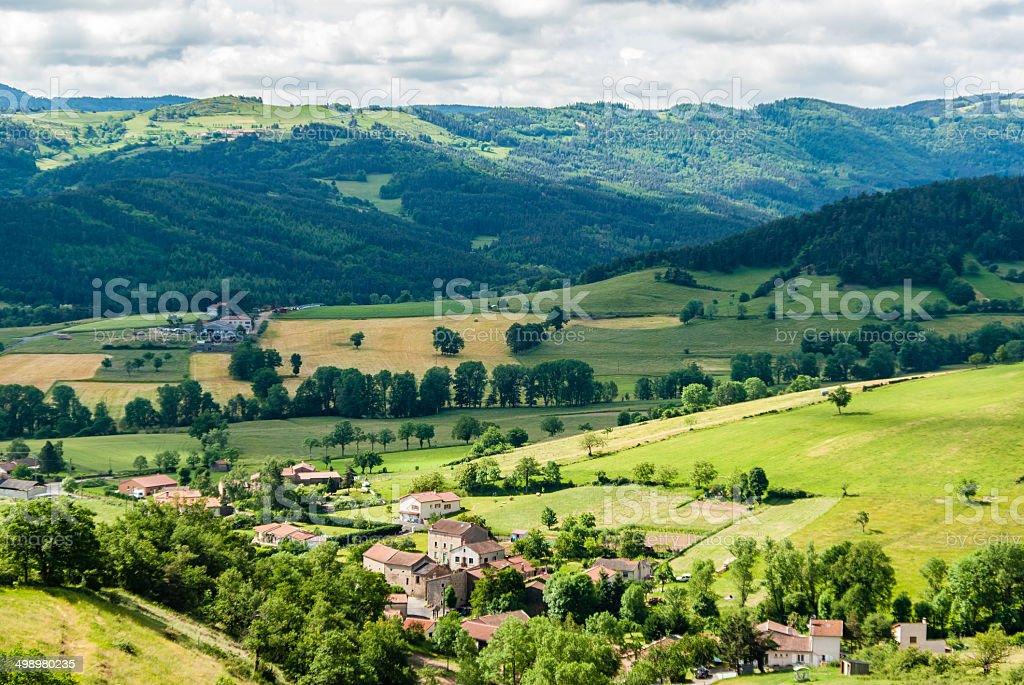Village in landscape stock photo