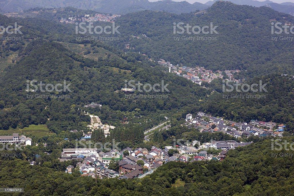 Village in mountain stock photo