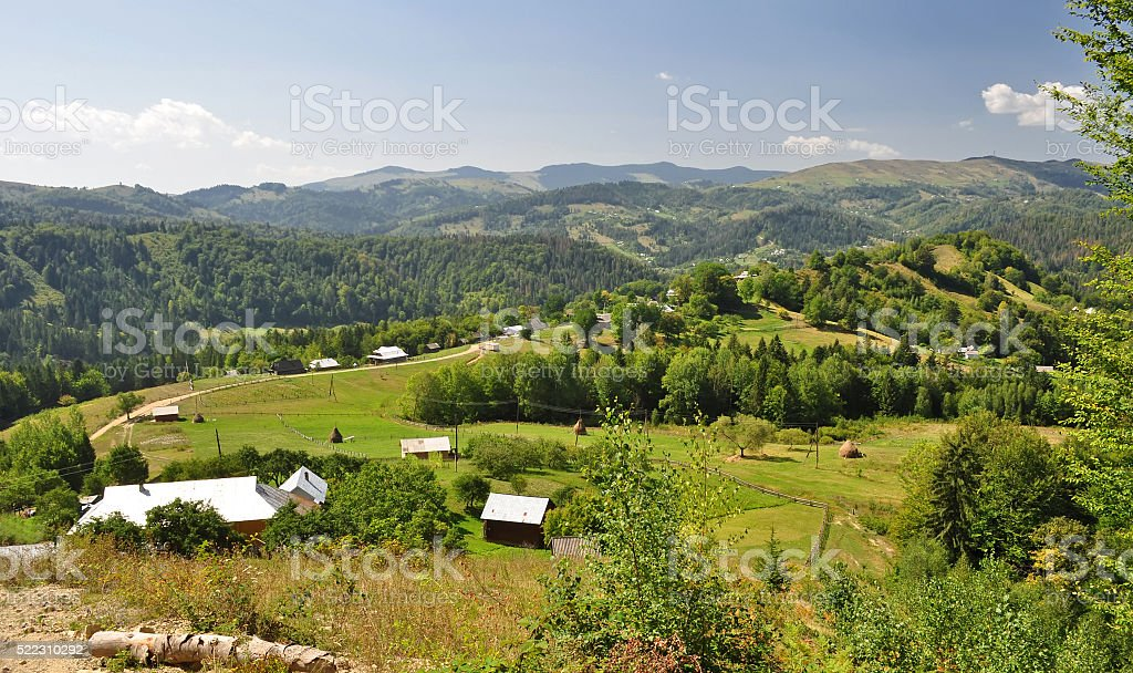 village in mountains stock photo