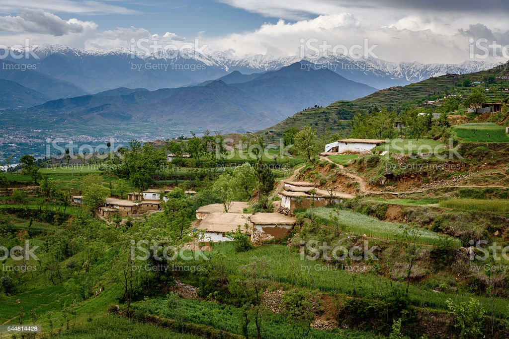 Village in mountains,Swat stock photo
