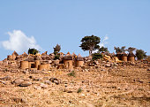 Village in Northen Cameroon. Very arid landscape. Blue sky.
