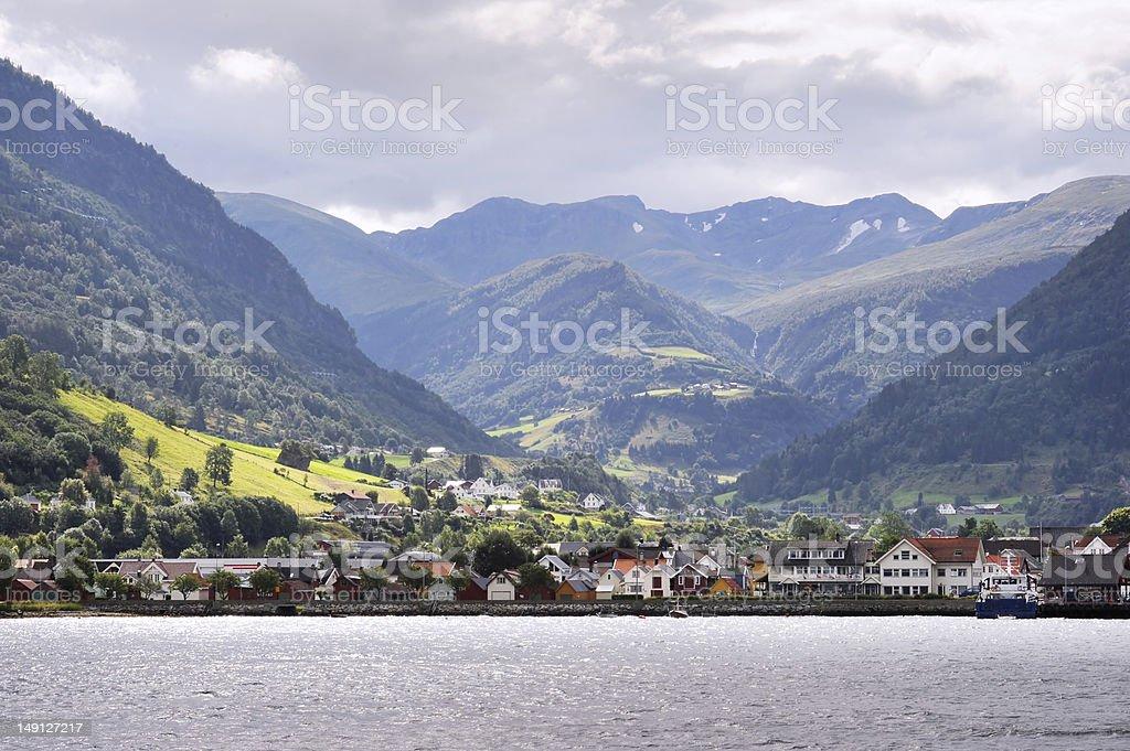 Village in Norvegian fjords stock photo