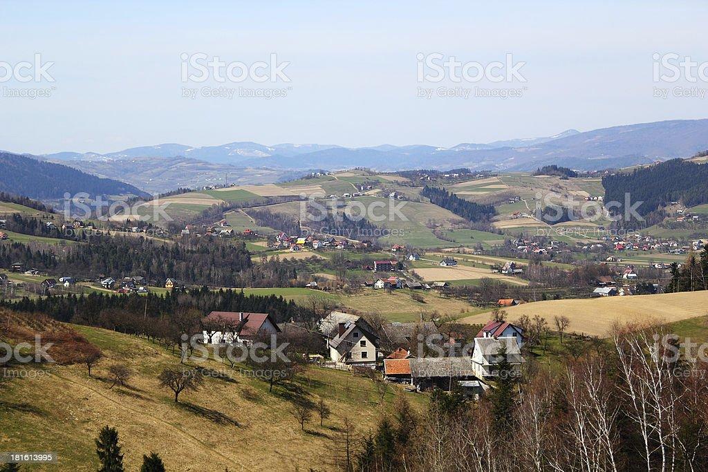 Village in spring. Beskids Mountains, Poland. stock photo