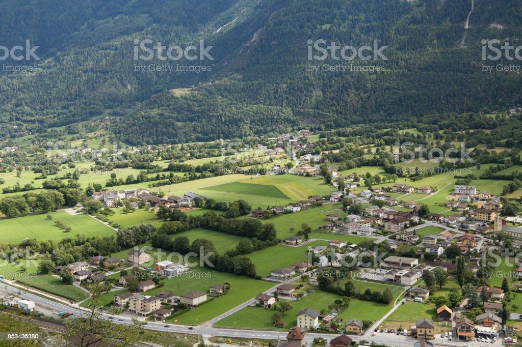 Village in Swiss stock photo
