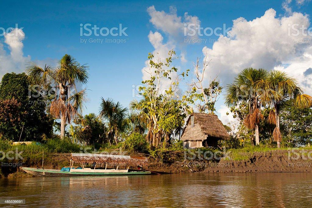 Village in the Amazon rain forest stock photo