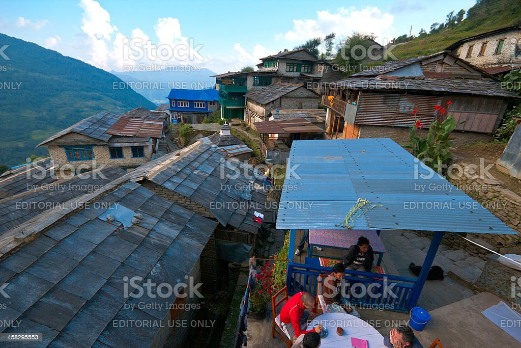 Village in the Annapurna Region  Nepal royalty-free stock photo