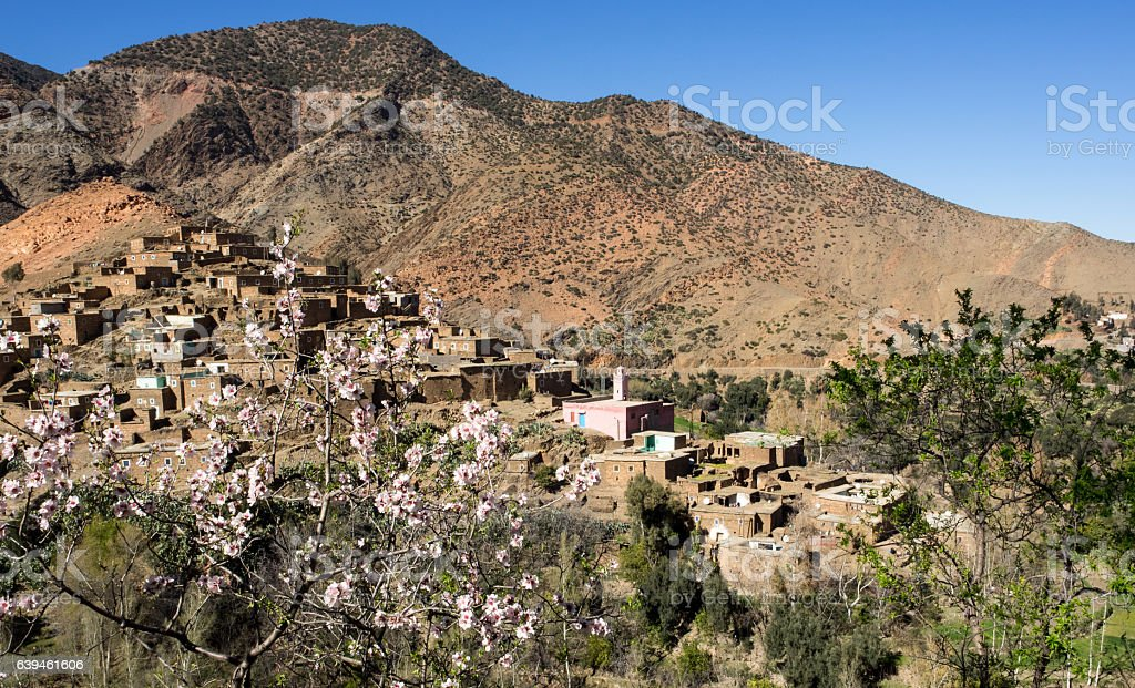 Village in the Atlas Mountains stock photo