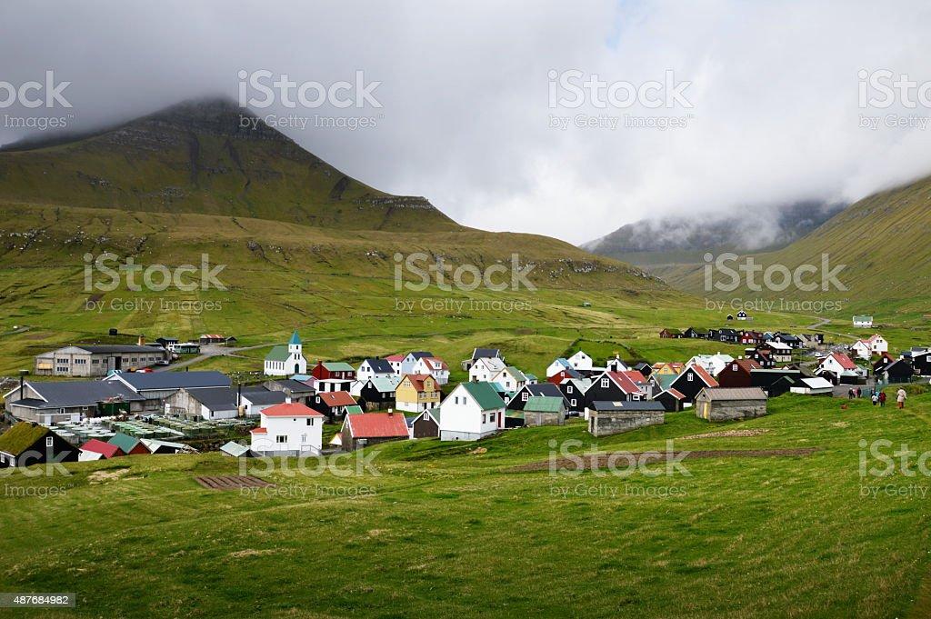Village in the Faroe Islands stock photo