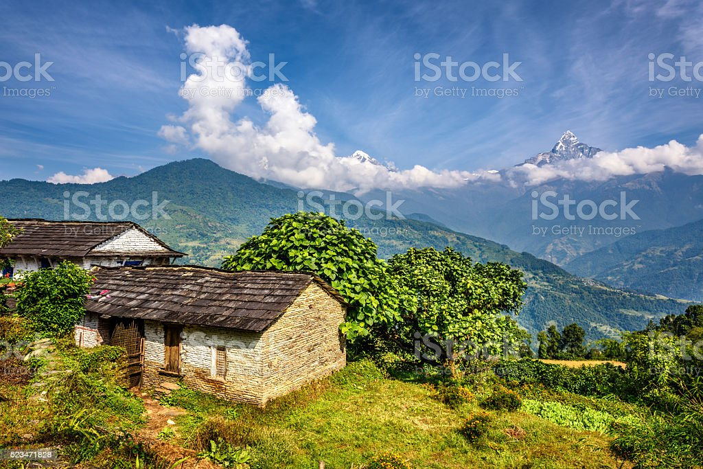 Village in the Himalaya mountains in Nepal stock photo