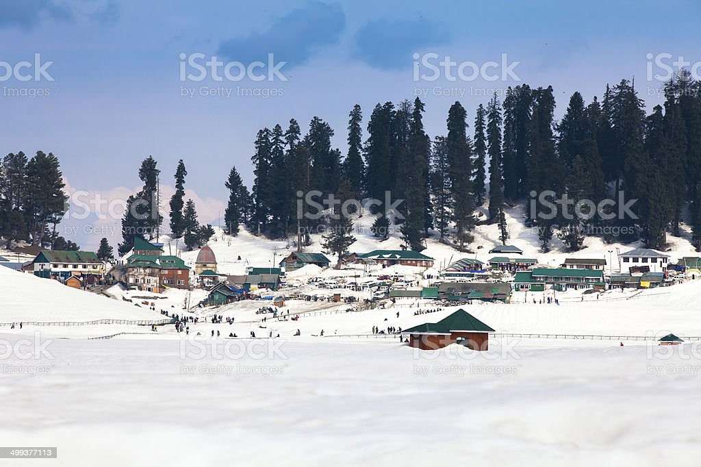 Village in the middle of Himalaya mountains stock photo