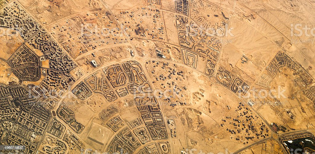 Village in the middle of the desert, Africa stock photo