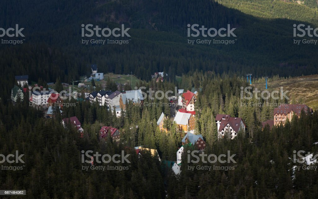 Village in the mountains stock photo