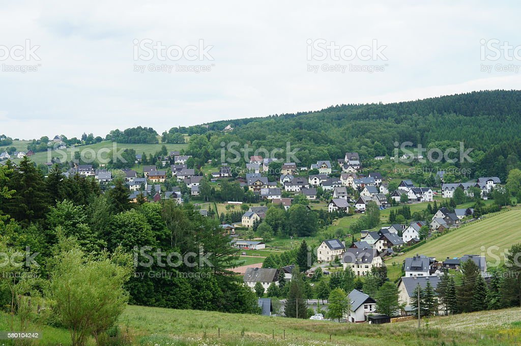 Village in the Ore Mountains, Germany stock photo