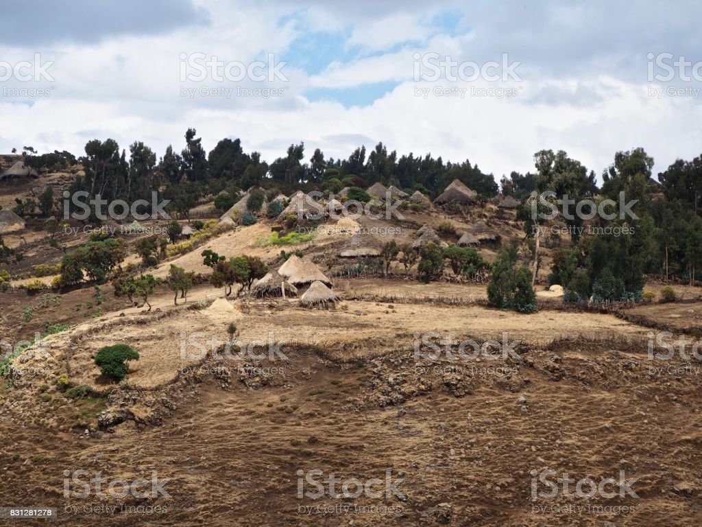 Village in the Simien Mountains stock photo