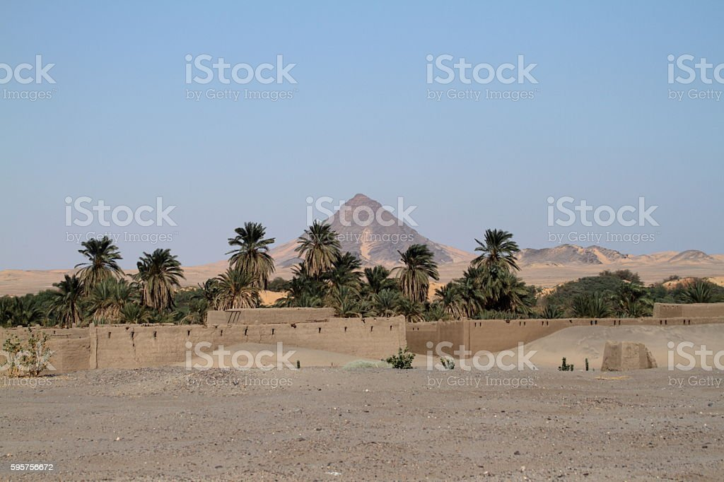 village in the Sudanese Sahara stock photo