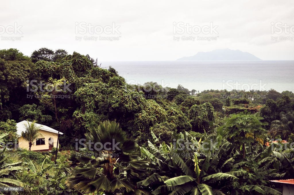 Village in the tropics, a general view from a height stock photo