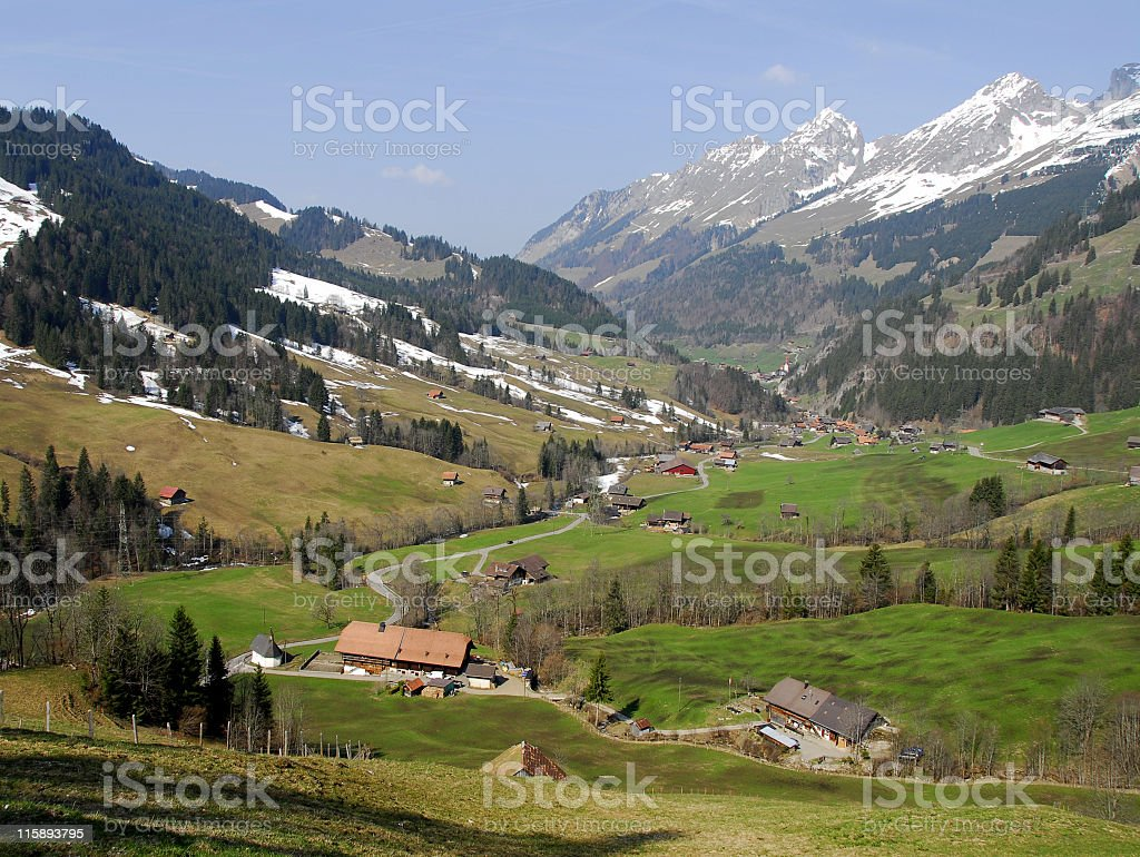 Village in the valley royalty-free stock photo