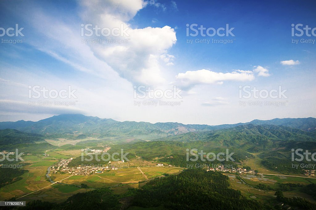 Village in the valley stock photo
