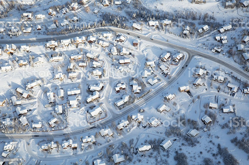Village in the winter stock photo