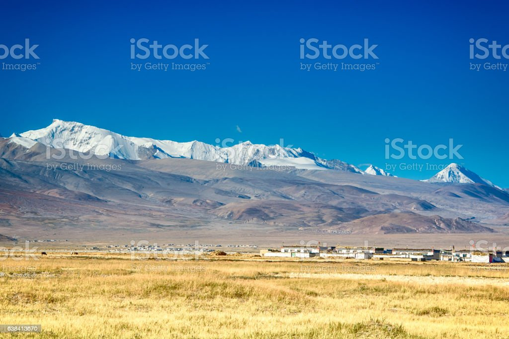 Village in Tibet in front of the Himalayas stock photo