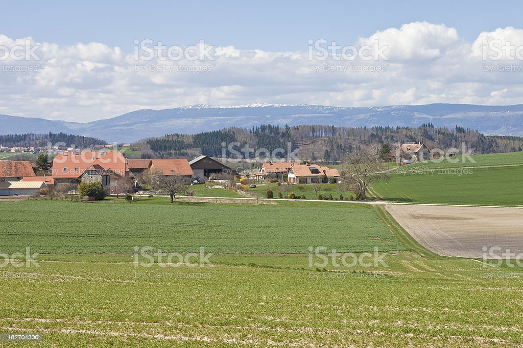 Village in Vaud, Switzerland, Spring, with Bare Trees stock photo