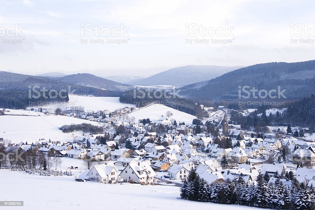 Village in Winter with snow royalty-free stock photo