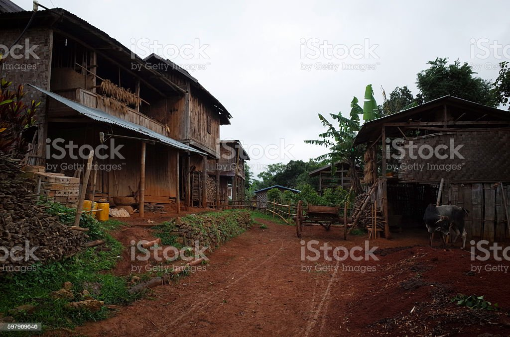 village kalaw myanmar stock photo