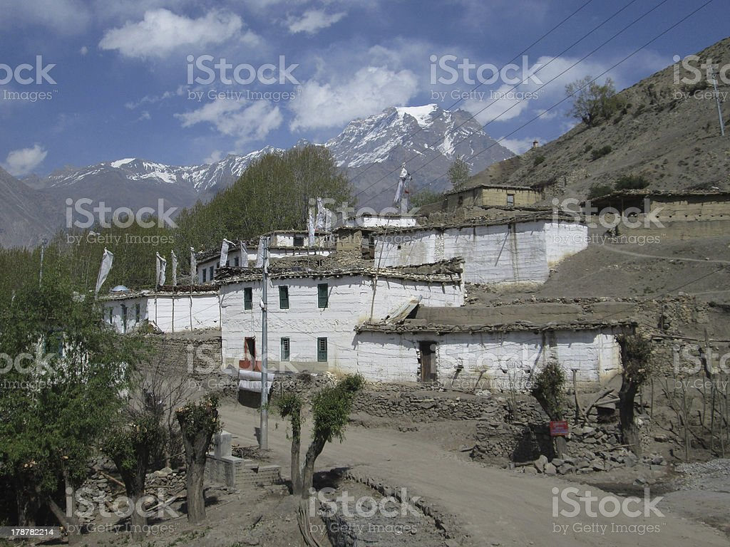 Village Khingar, roofs with firewood on top stock photo