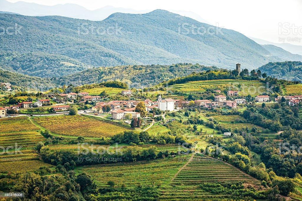 Village Kojsko in Goriska Brda, Slovenia stock photo
