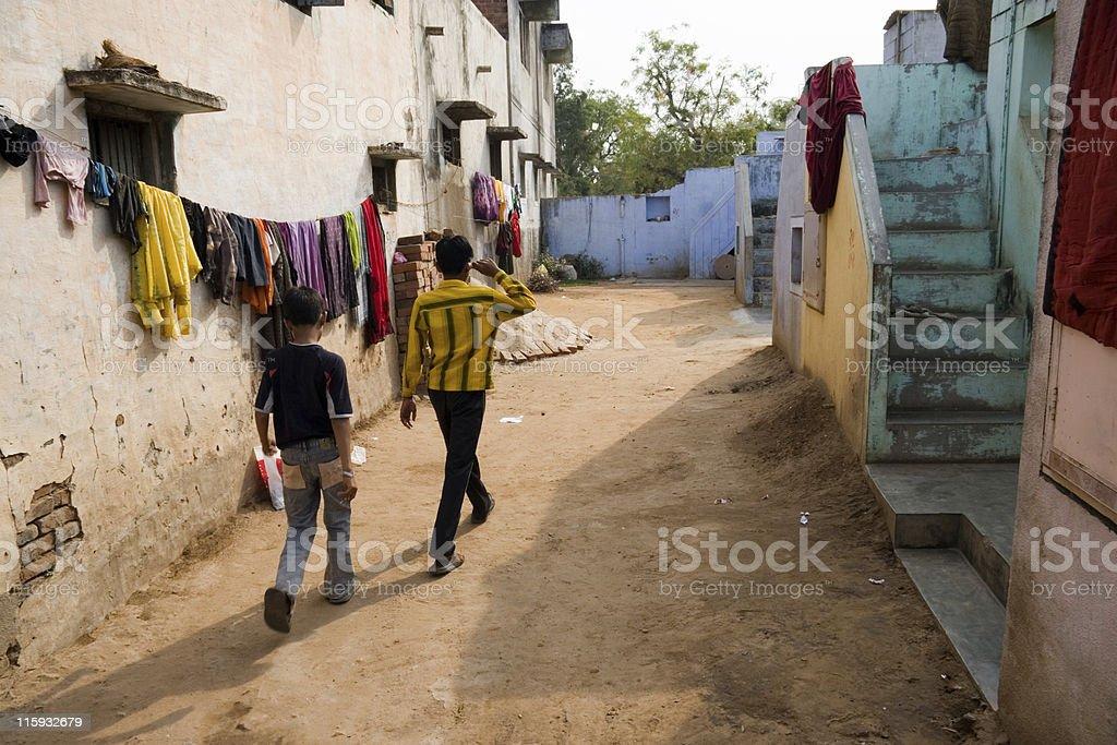 Village Lane, Gujarat, India royalty-free stock photo