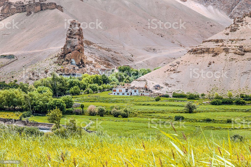 Village Likir in Ladakh, Himalaya  Northern India stock photo