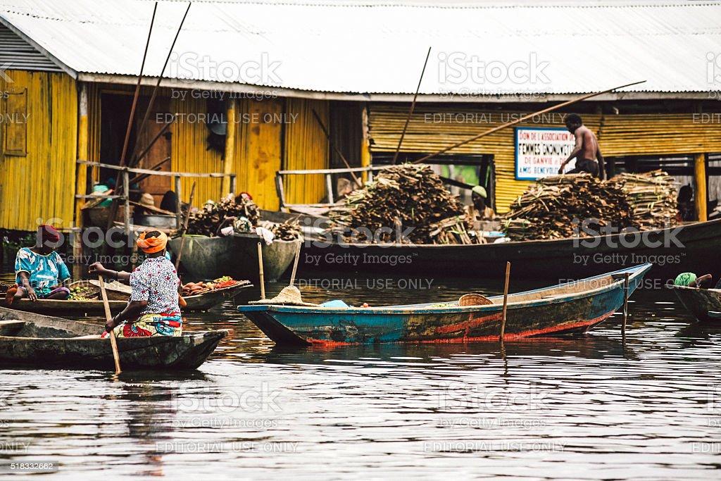 Village market on the water. Ganvie, Benin. stock photo