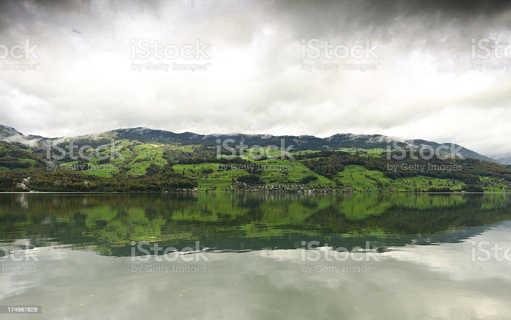 Village near Lake Sarnen in Switzerland stock photo