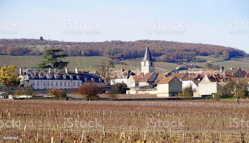 village of Aloxe Corton stock photo