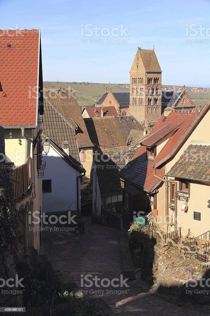 Village of Alsace in the vineyard stock photo