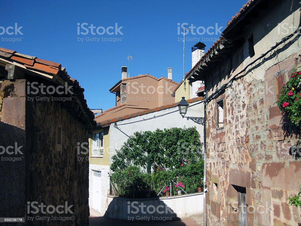 Village of Arlanzón , Burgos, Spain. stock photo