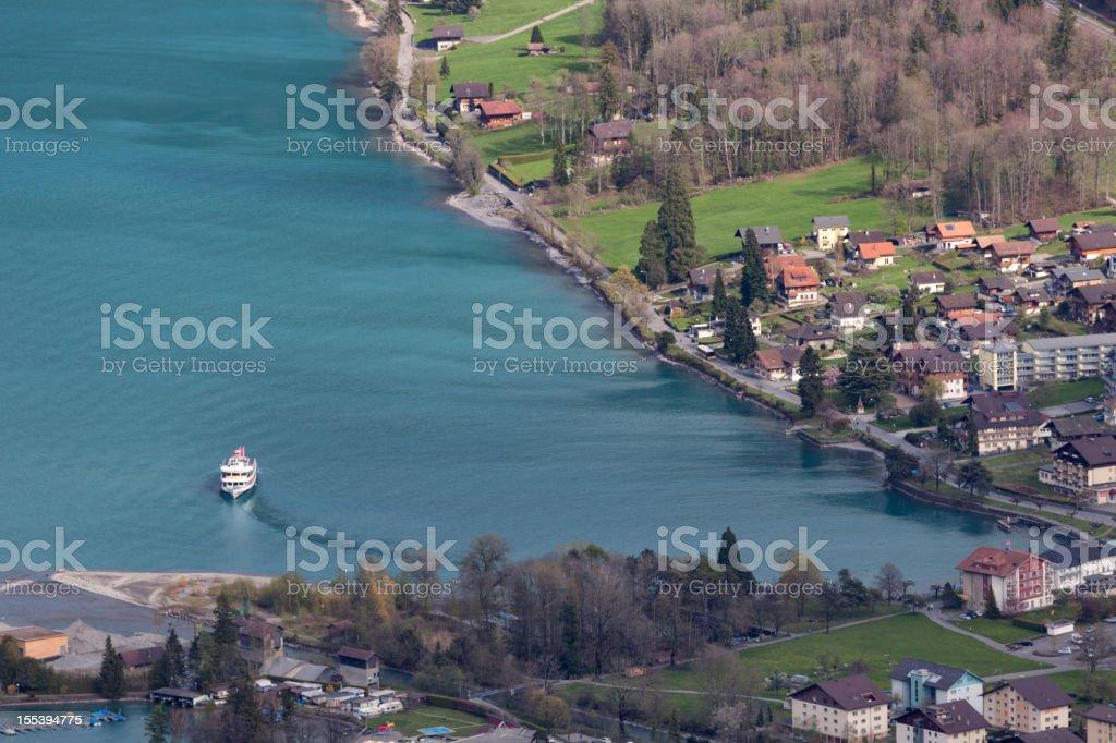 Village of Boenigen on Lake Brienz, Switzerland, Spring stock photo