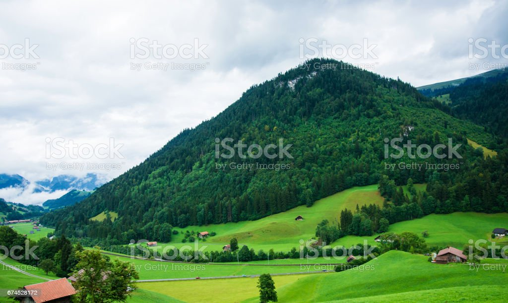 Village of Boltigen at Jaun Pass at Fribourg of Switzerland stock photo