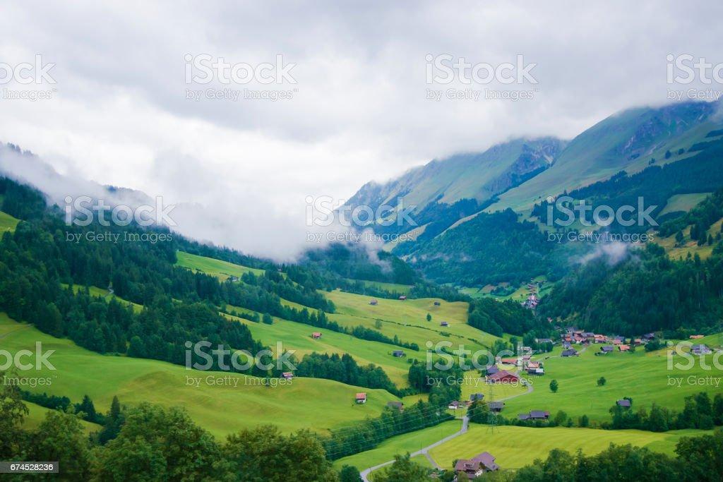 Village of Boltigen at Jaun Pass in Fribourg Switzerland stock photo