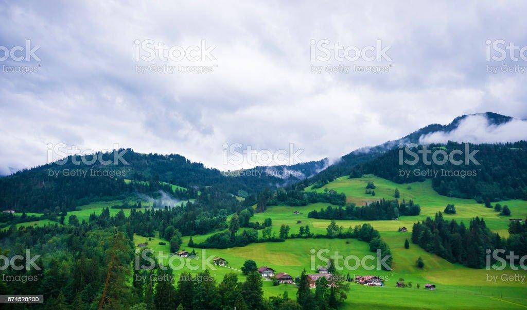 Village of Boltigen in Jaun Pass in Fribourg of Switzerland stock photo