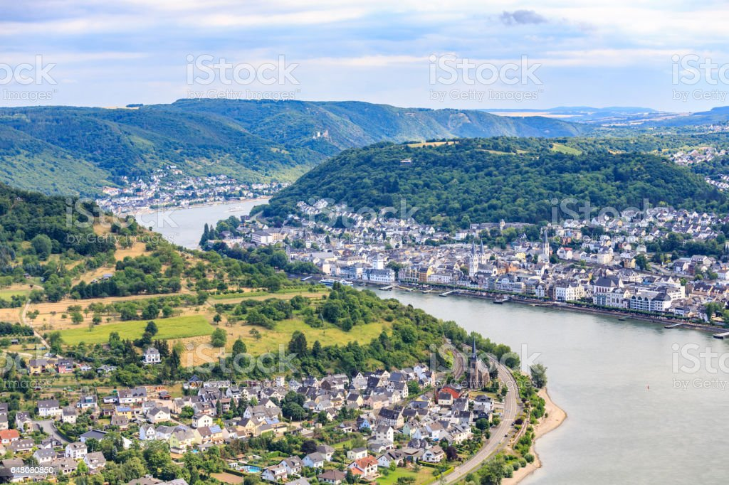 Village of Boppard at Rhine River,middle Rhine Valley stock photo